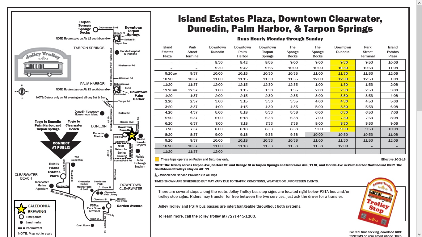 Jolley Trolley Dunedin Florida Schedule