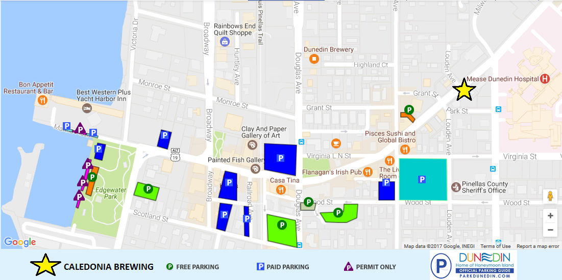 Downtown Dunedin Parking Map